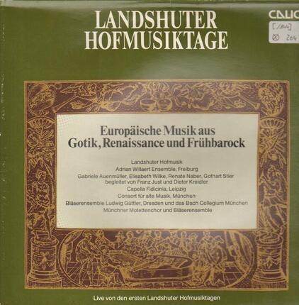 #<Artist:0x00007f410dc313b0> - Landshuter Hofmusiktage (Europäische Musik Aus Gotik, Renaissance Und Frühbarock)