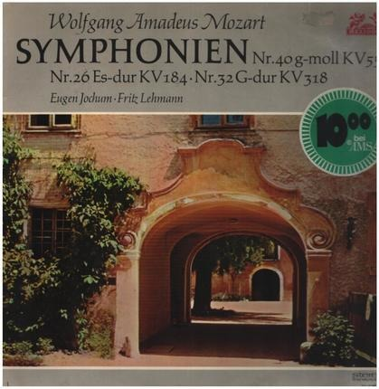 #<Artist:0x00007f7dfe0d6c30> - Symphonien Nr. 40, 26, 32,, Eugen Jochum, Fritz Lehmann