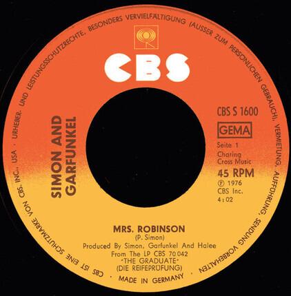 #<Artist:0x00007fcebbee5d40> - Mrs. Robinson / Old Friends/Bookends