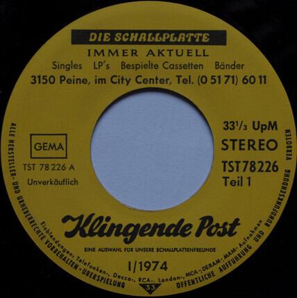 #<Artist:0x00007fcec137cd90> - Frühlese '74 - Klingende Post I/1974