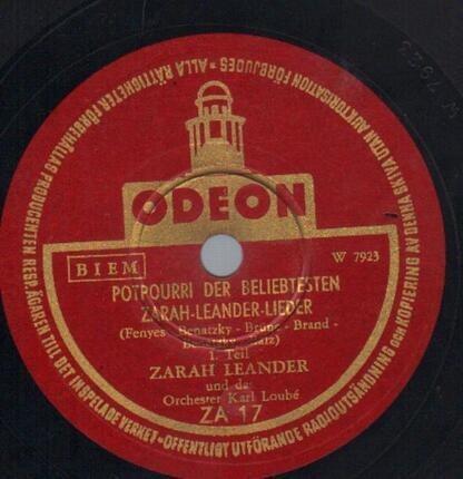 #<Artist:0x00007f412e818a00> - Potpourri Der Beliebtesten Zarah-Leander-Lieder