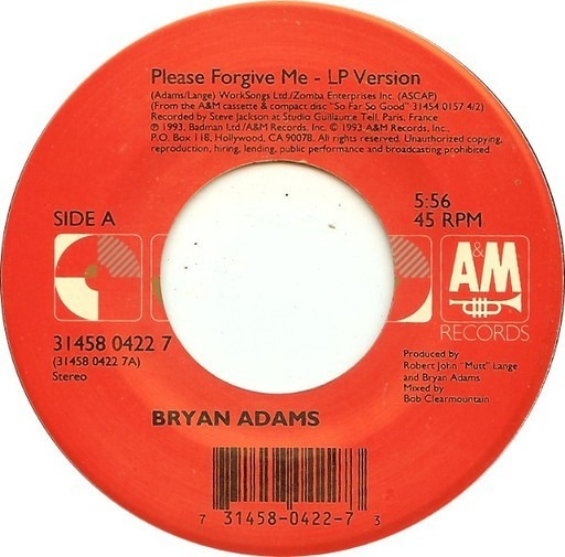 Please Forgive Me - Bryan Adams | 7'', CD Single | Recordsale