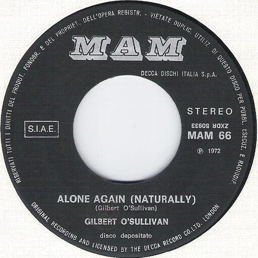 Alone Again (Naturally) - Gilbert O'Sullivan | 7'' | Recordsale