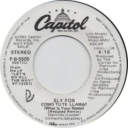 Como Tu Te Llama? (What Is Your Name) - Sly Fox   7''   Recordsale
