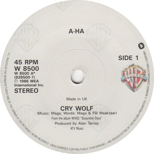 a-ha Cry Wolf (PAPER LABELS)
