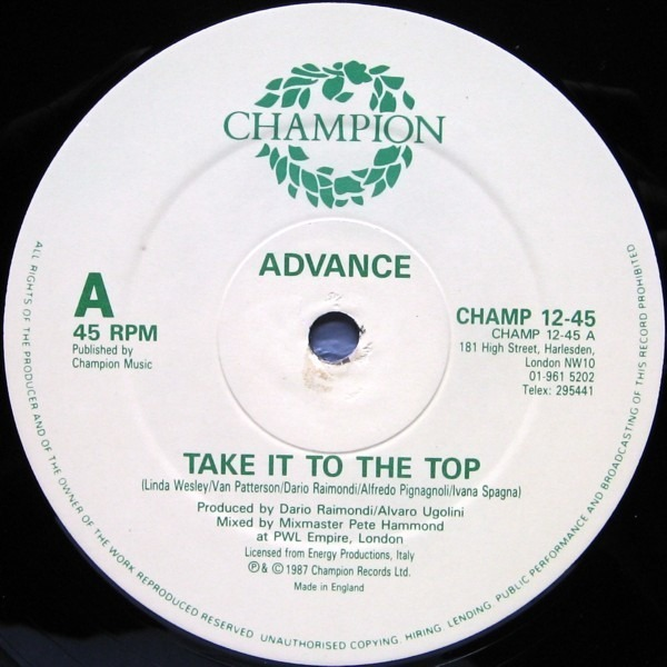 ADVANCE - Take It To The Top - 12 inch x 1