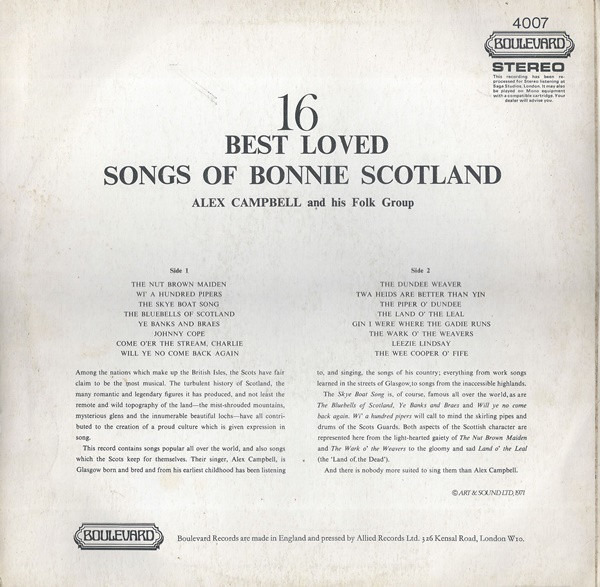 Alex Campbell 16 Best Loved Songs Of Bonnie Scotland