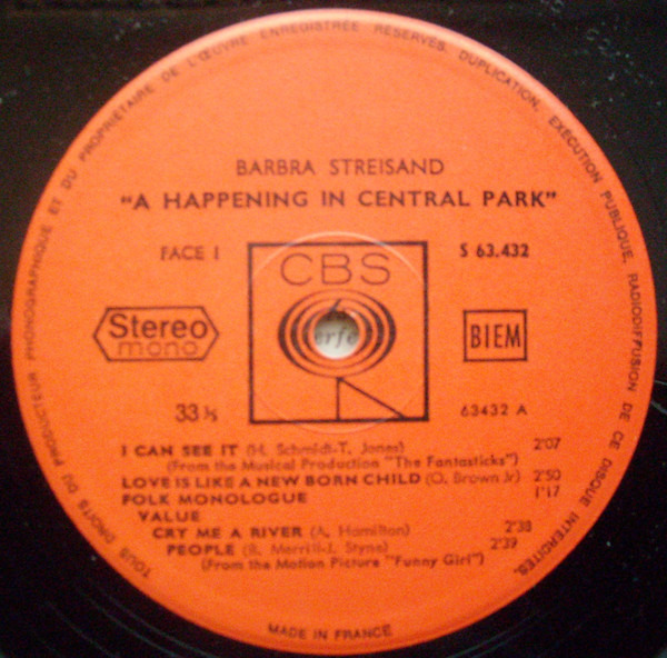 Barbra Streisand A Happening In Central Park