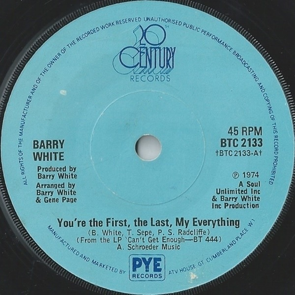 Barry White You're The First, The Last, My Everything (SOLID CENTRE)