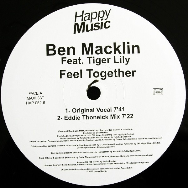 BEN MACKLIN FEAT. TIGER LILY - Feel Together - 12 inch x 1