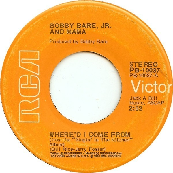 Where D I Come From Scarlet Ribbons By Bobby Bare Jr And Jeannie Bare Jeannie Bare 7inch X 1 With Recordsale Ref 3099702888