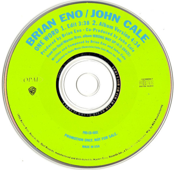 BRIAN ENO , JOHN CALE - One Word - CD single