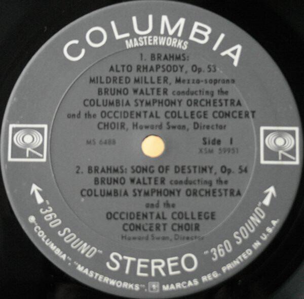Alto rhapsody / song of destiny / songs of a wayfarer by Bruno Walter  Conducts Johannes Brahms / Gustav Mah, LP with recordsale