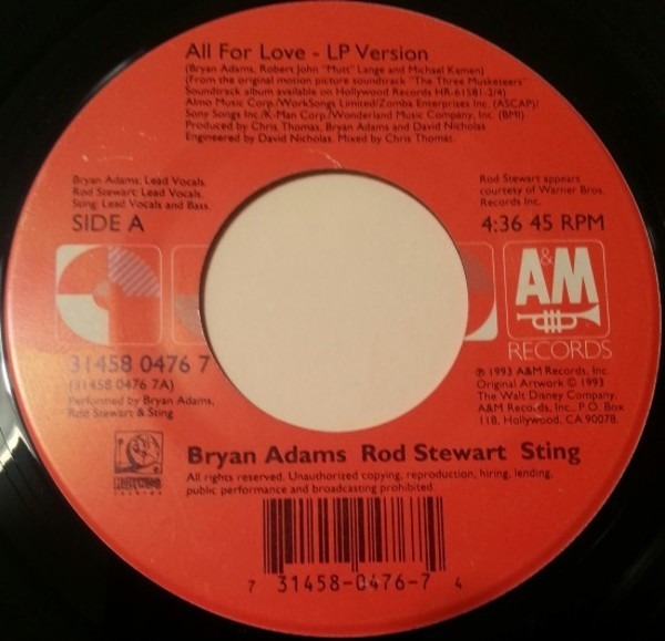 Bryan Adams , Rod Stewart , Sting All For Love