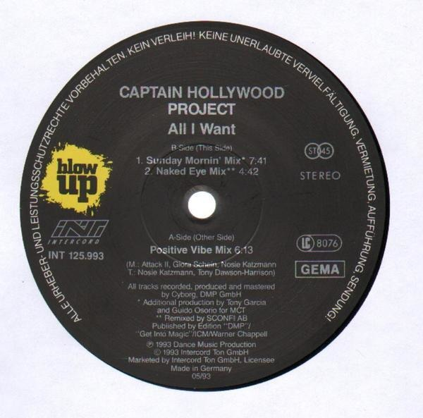 All i want (remixes) by Captain Hollywood Project, 12 inch x