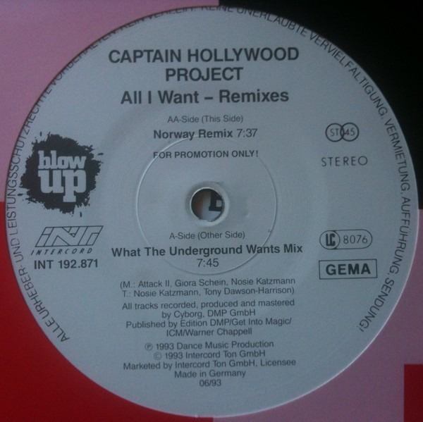 All i want (remixes) by Captain Hollywood Project, 12 inch x 1 with  recordsale