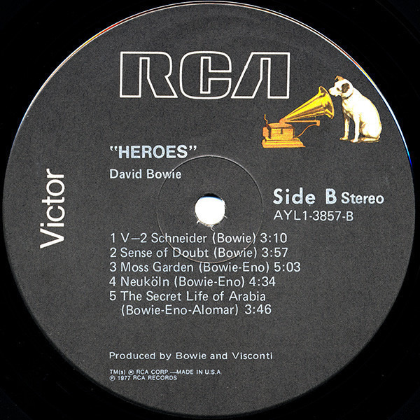 David Bowie 'Heroes' (US BLACK LABEL 1980)