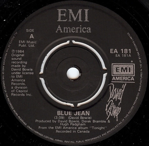 David Bowie Blue Jean (PAPER LABELS)