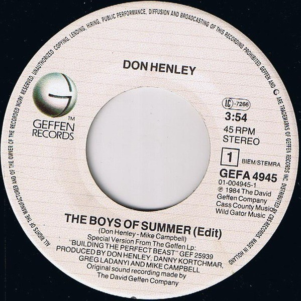 Don Henley The Boys Of Summer / A Month Of Sundays