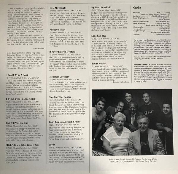 Eileen Farrell , Loonis McGlohon , Joe Wilder Eileen Farrell Sings Rodgers & Hart (GATEFOLD)