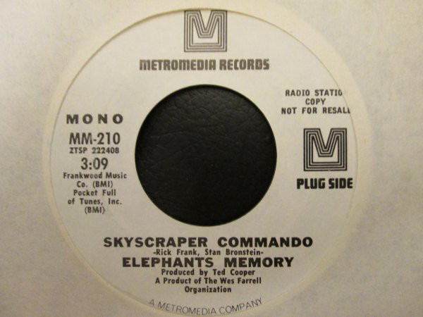 ELEPHANTS MEMORY - Skyscraper Commando (PROMO COPY) - 7inch x 1