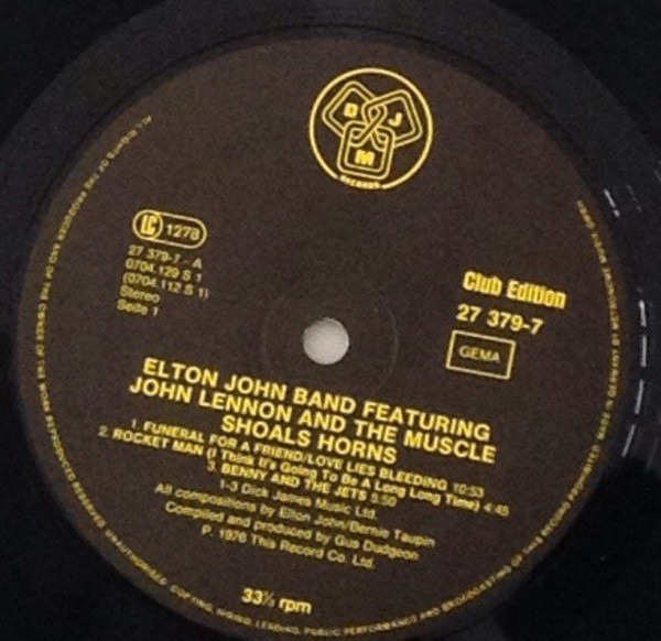 Elton John Band Featuring John Lennon And Muscle S 28th November, 1974....