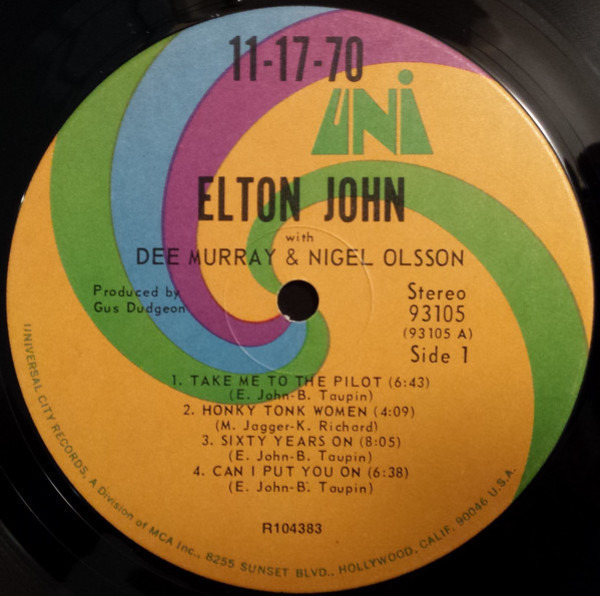 Elton John With Dee Murray And Nigel Olsson 11-17-70