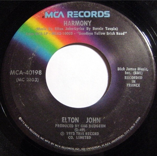 Elton John Bennie And the Jets / Harmony