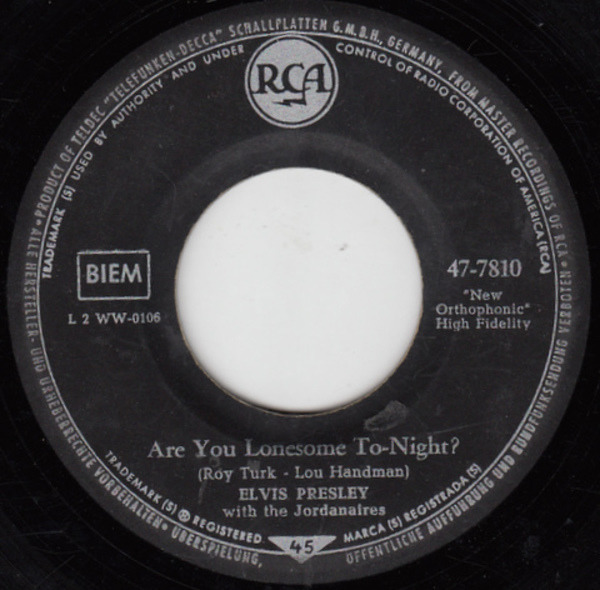 #<Artist:0x007fe342bd0650> - Are You Lonesome Tonight? / I Gotta Know