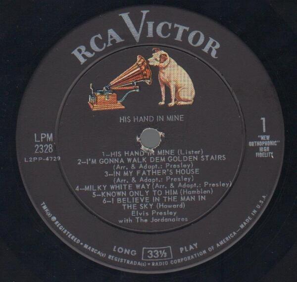 Elvis Presley His Hand In Mine (INDIANAPOLIS PRESSING)