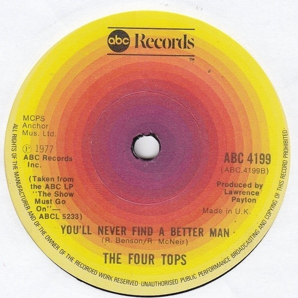 Four Tops For Your Love / You'll Never Find A Better Man