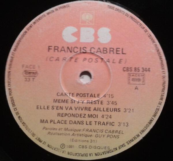 Carte postale de Francis Cabrel, 33T chez recordsale - Ref:3117656071