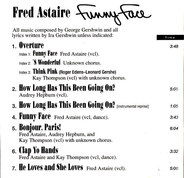 Fred Astaire , Audrey Hepburn And Kay Thompson Funny Face (Original Sound Track Recording)