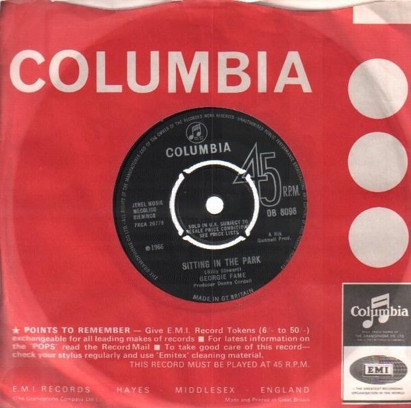 Georgie Fame Sitting In The Park (PUSHOUT CENTRE. LABEL SLEEVE)