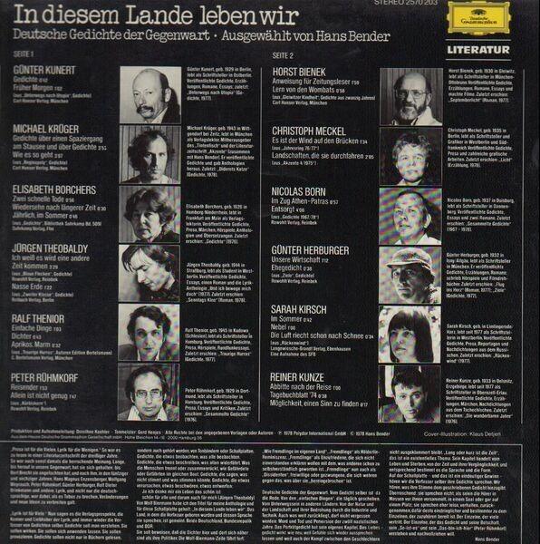 In Diesem Lande Leben Wir Deutsche Gedichte Der Gegenwart By Hans Bender Hrsg Lp With Recordsale