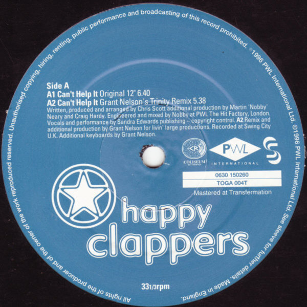 HAPPY CLAPPERS - Can't Help It - 12 inch x 1