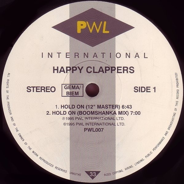HAPPY CLAPPERS - Hold On - 12 inch x 1