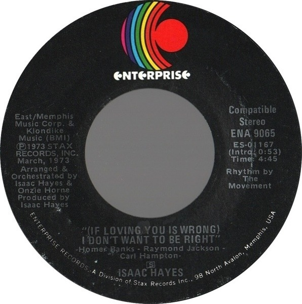 Isaac Hayes (If Loving You Is Wrong) I Don't Want To Be Right / Rolling Down A Mountainside