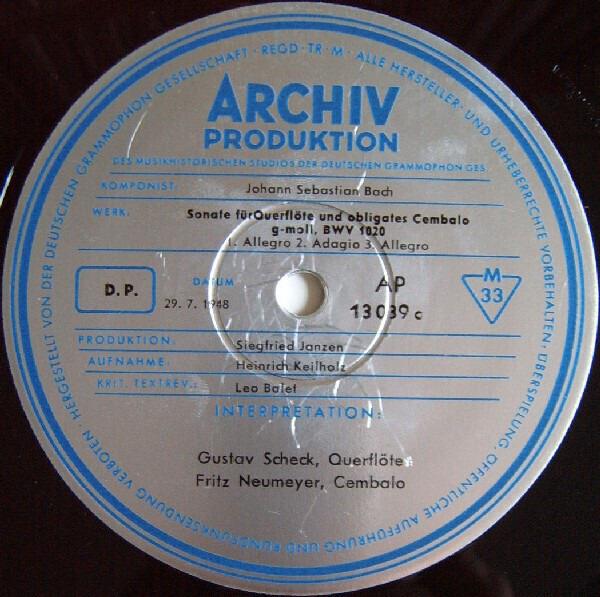 Johann Sebastian Bach - Gustav Scheck / Fritz Neum 2 Sonaten Für Querflöte Und Obligates Cembalo