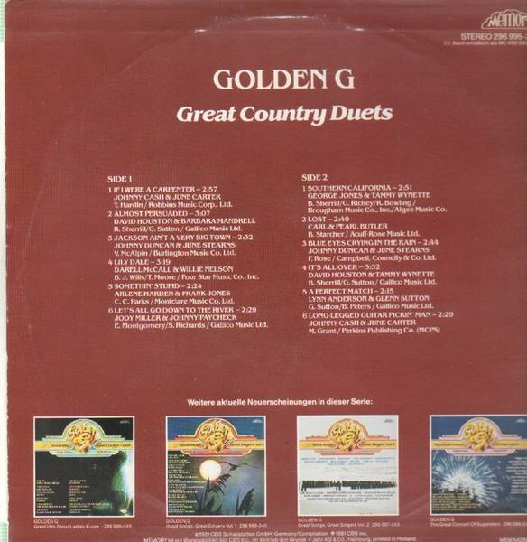 #<Artist:0x00007f4e0f554178> - Golden G Great Country Duets