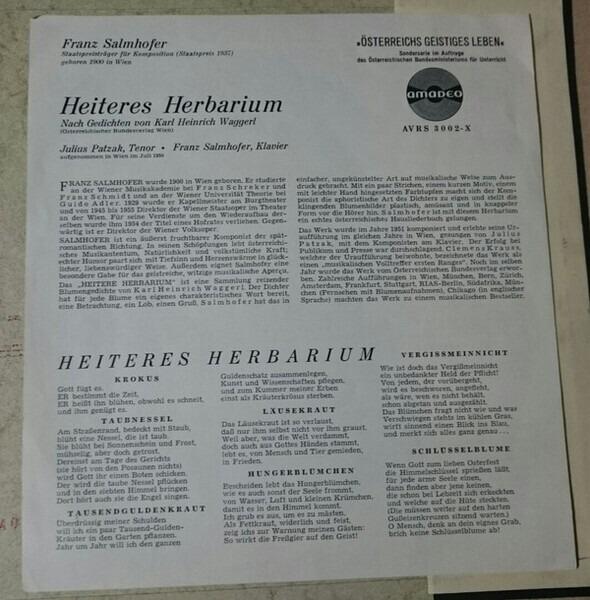 Heiteres Herbarium 10 Insert By Karl Heinrich Waggerl Julius Patzak Franz Salm 10inch With Recordsale