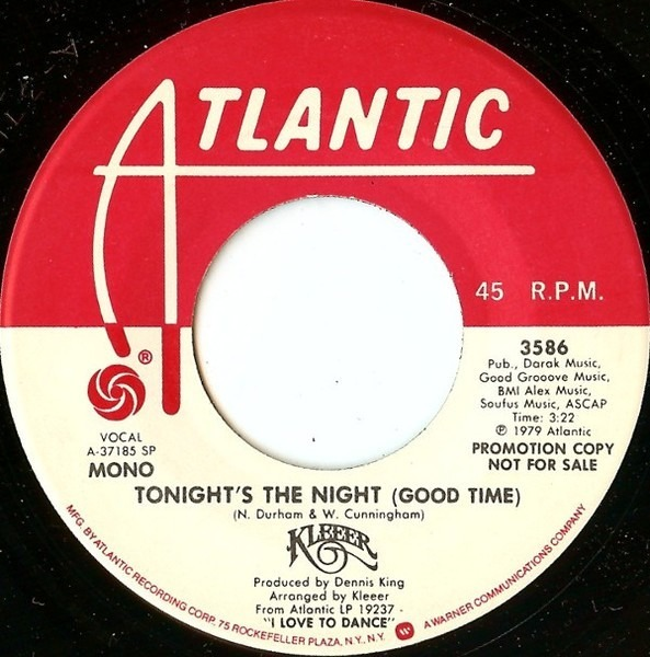 KLEEER - Tonight's The Night (Good Time) - 7inch (SP)