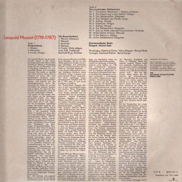 Kindersinfonie, bauernhochzeit, musikalische schlittenfahrt by Leopold  Mozart, LP with recordsale
