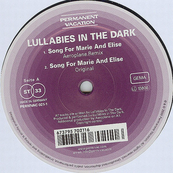 LULLABIES IN THE DARK - Song For Marie And Elise - Maxi x 1
