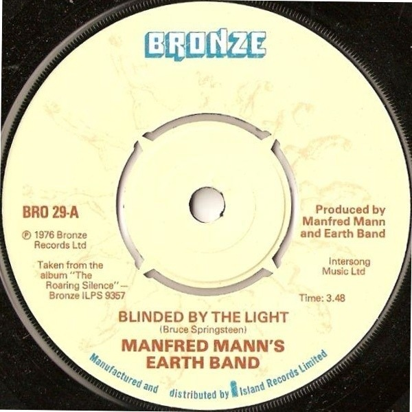 MANFRED MANN'S EARTH BAND - Blinded By The Light (KNOCKOUT CENTER) - 7inch x 1