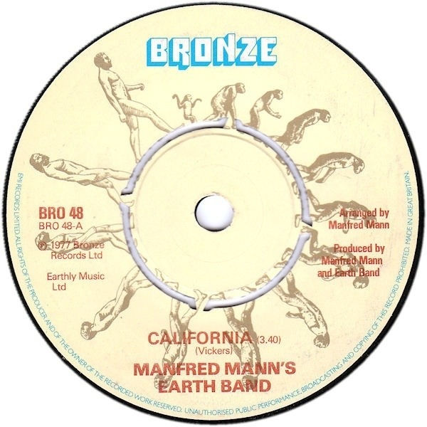 MANFRED MANN'S EARTH BAND - California - 7inch x 1