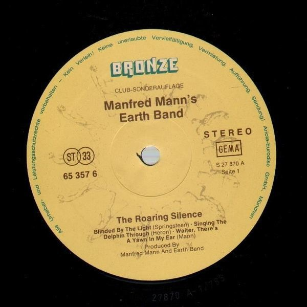 Manfred Mann's Earth Band The Roaring Silence (NO ORIGINAL COVER)