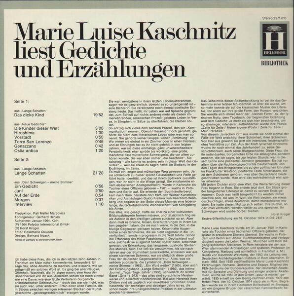 Gedichte Und Erzählungen By Marie Luise Kaschnitz Lp With Recordsale