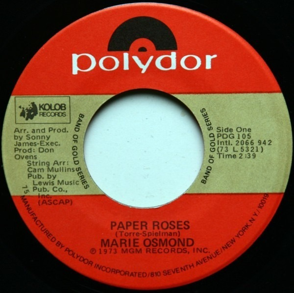 #<Artist:0x007fe34b21c1a0> - Paper Roses / Who's Sorry Now