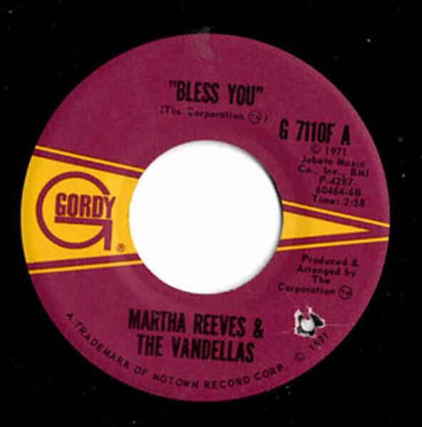 martha reeves & the vandellas bless you / hope i don't get my heart broke (label variation)